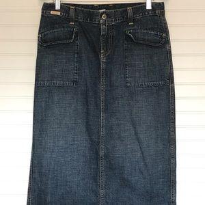 Lucky Brand Boho Maxi Denim Jean Skirt 8